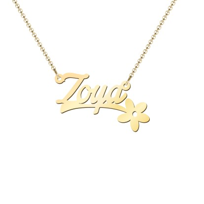 Gold Plated Flower Name Necklace