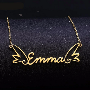 Gold Plated Butterfly Name Pendant