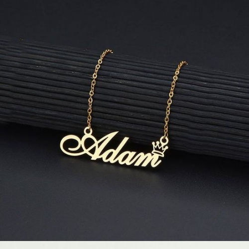 Gold Plated Crown Name Pendant
