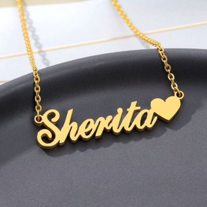 Gold Plated Name Pendant Heart