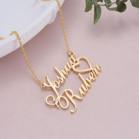 Gold Plated 2 Name Pendant