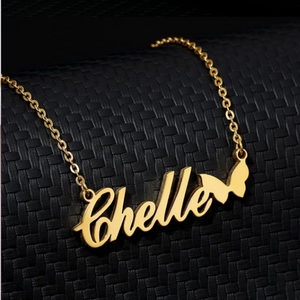 Gold Plated Name Pendant Butterfly