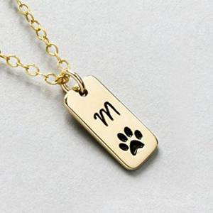 Paw & Initial Necklace