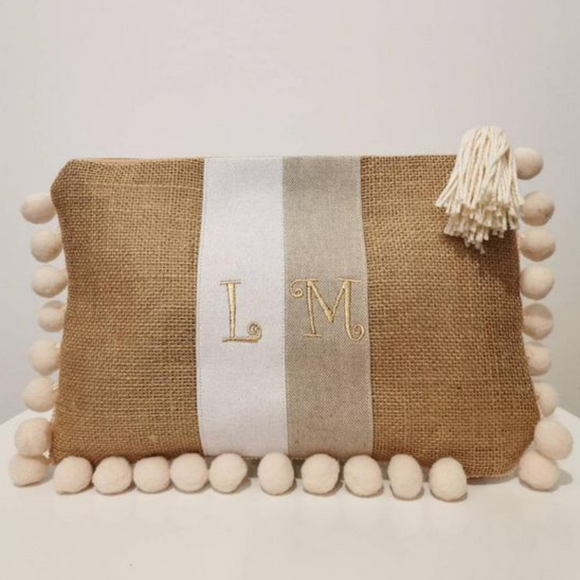Cream Personalized Clutch