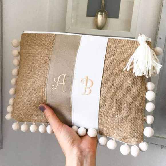 White Personalized Clutch