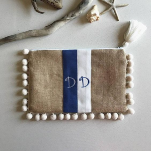 White and Blue Personalized Clutch