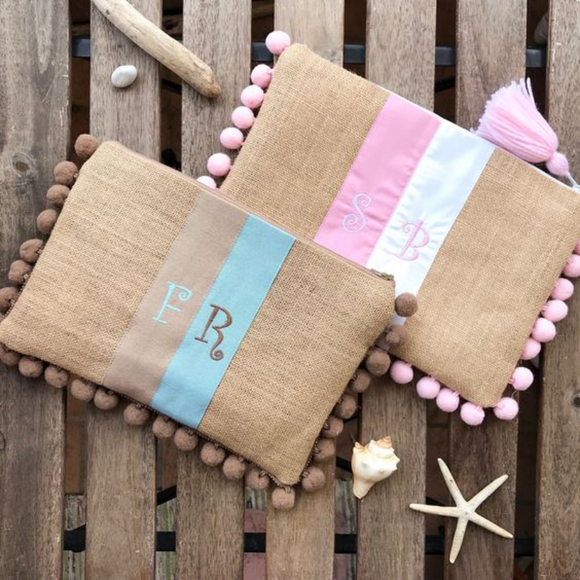 Pink Blue Personalized Clutch