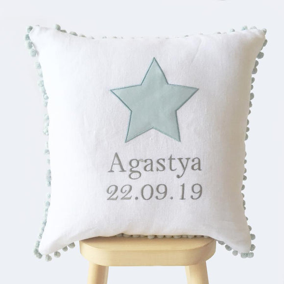 Baby Name Cushion Cover Blue