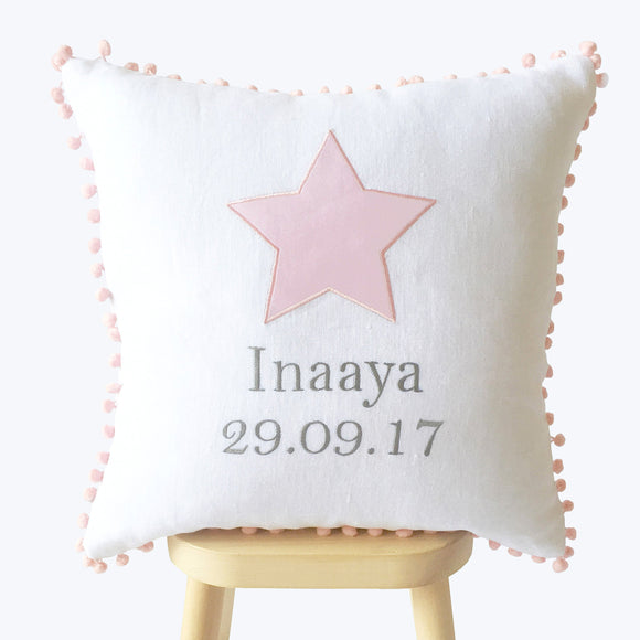 Baby Name Cushion Cover Pink