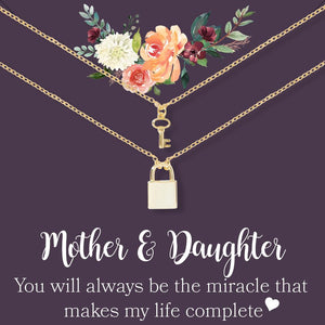 Lock and Key Mother Daughter Pendant
