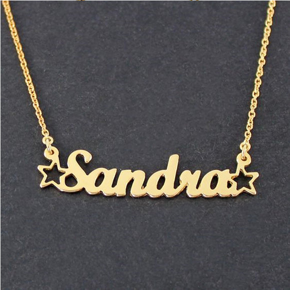 Star Gold Plated  Name Necklace