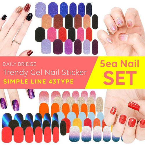 [5EA SET]Korea No.1 BSET Trendy Gel Nail Sticker-Simple Line 46TypeManicures/Beauty/polish