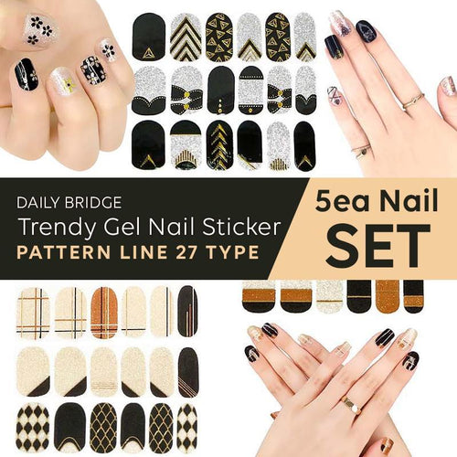 [5EA SET]Korea No.1 BSET Trendy Gel Nail Sticker-Pattern Line 27TypeManicures/Beauty/polish