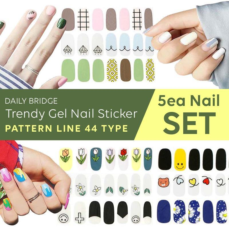 [5EA SET]Korea No.1 BSET Trendy Gel Nail Sticker-Pattern Line 44TypeManicures/Beauty/polish