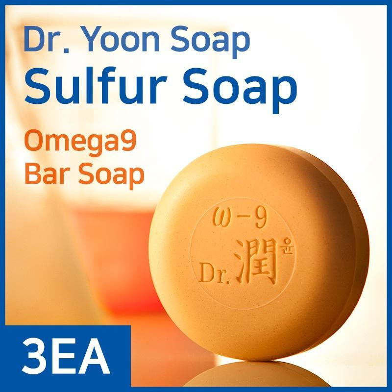 Dr.Yoon Sulfur Soap3EA/Omeaga9 - Bar Soap/Foam Cleansing+Skin-Care Moisturizing/Prevention Hair Loss