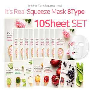 [innisfree] its Real Squeeze Mask 10Sheet 8Type/Natural ingredients/20ml/Rose/Green Tea/B2C16_2142