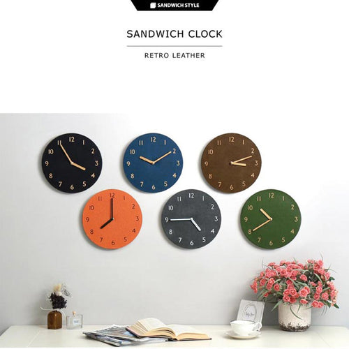 THEHAKISANDWICH CLOCK/WALL CLOCK/Retro/Leather/EVA/6types