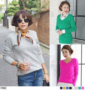 [Korea Celebrity Style] AMAI Soft v neck line knit