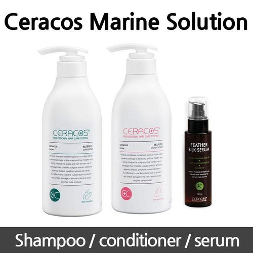 Marine shampoo 500ml / Marine conditioner 500ml / Feather slik serum / Ceracos Marine Care Solution