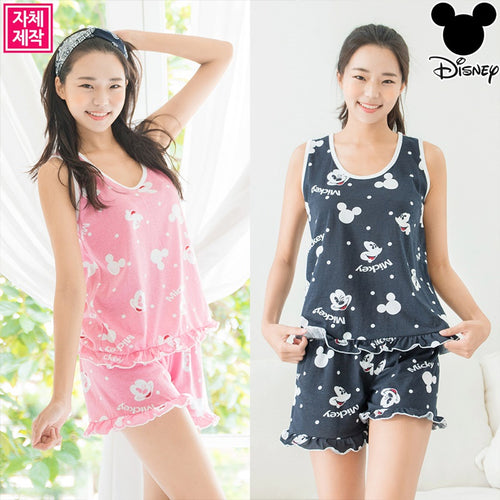[JNANA][Disney]Mickey Frill Sleeveless Pajama Set(navy)