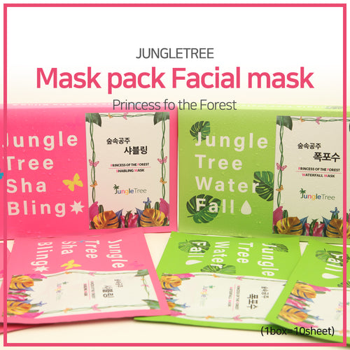 [Jungletree] Jungletree Mask pack/ Facial mask/  Water Fall/ SHABLING/ 10ea in the box