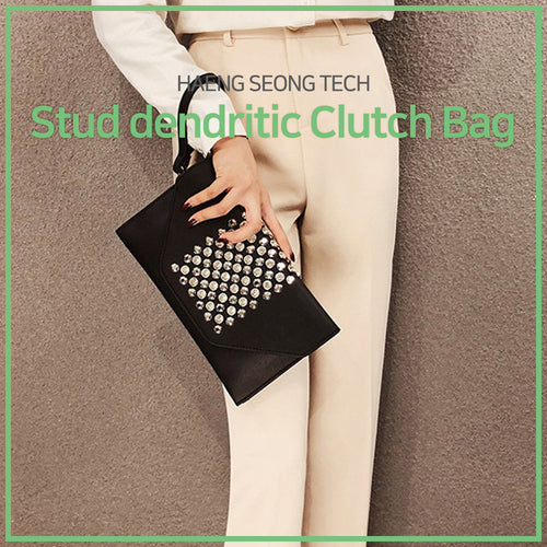 Stud dendritic clutch bag (Black)