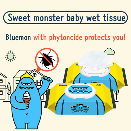 Sweetmonster baby wet tissue/ Baby wet tissue/ Cute design/ Add phytoncide/ Safety