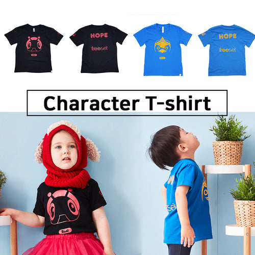 [CGPIXEL] Character T-shirt/Short sleeve/Black/Blue/Size 3,5,7/Age of 3~7years/Child unisex