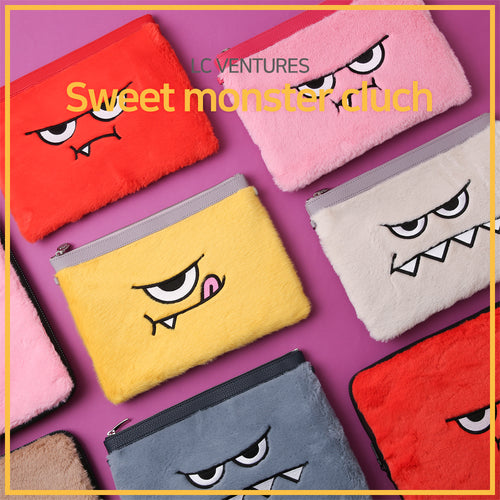[LC Ventures] Fashion accessory/ Sweet monster cluch/ Fashion/ Red/ Pink/ Ivory/ Yellow/ Blue