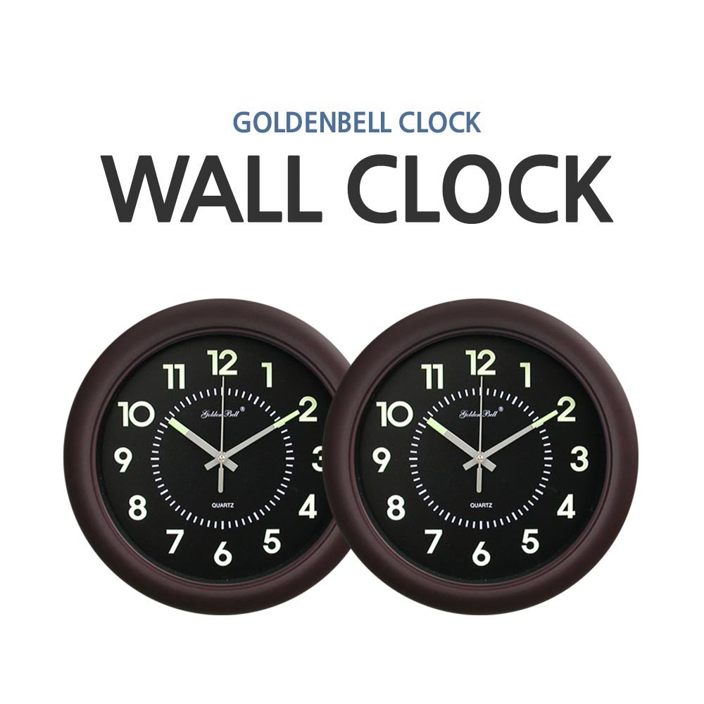 [GoldenBell Clock] Luminous Noiseless Wall Clock 320mm Brown/ Premium clock/ Home interior