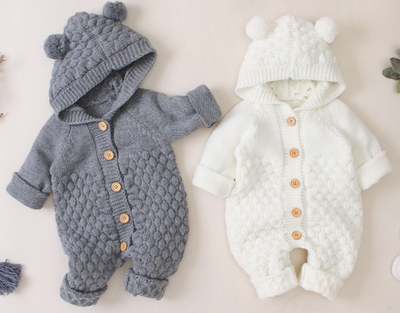 Baby Knit Hooded Jumpsuit