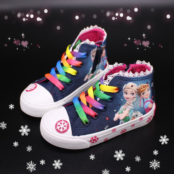 Girls Princess Frozen Ankle Sneakers
