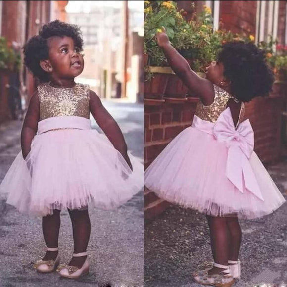 Premium Toddler Gold Sequined Pink Tulle Dress