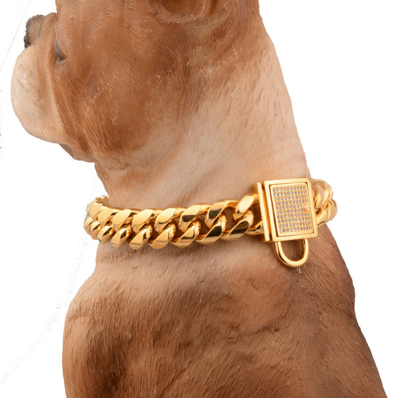 Hip-Hop Stainless Steel Gold Plated Thick Link Large Dog Collar