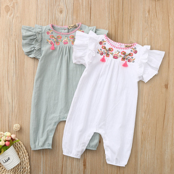 Baby  Embroidered Cotton Linen Romper