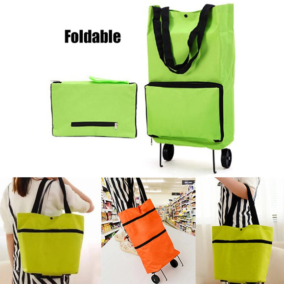 Large Capacity Folding Shopping Bag with Wheels