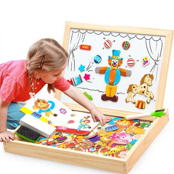 100+PCS Wooden Magnetic Puzzle Art Easel Drawing Board