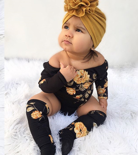 2pcs Toddler Baby Girl Long Sleeve Flower Romper + Leg Warmers