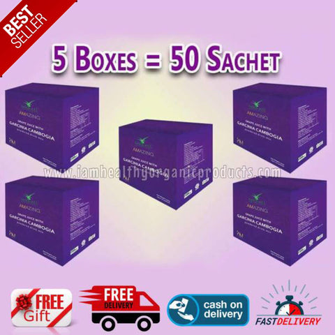 "5 BOXES AMAZING GARCINIA CAMBOGIA (50 SACHETS) ""FREE MYSTERY GIFT"""
