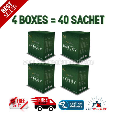 "4 Boxes of Pure Organic Barley (40 SACHETS) ""FREE SHIPPING + FREE GIFT"""