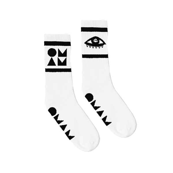 OMAM LOGO WHITE SOCKS