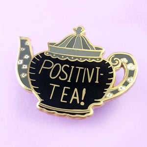 POSITIVI-TEA POT LABEL PIN FROM JUBLY-UMPH - Curvique Vintage