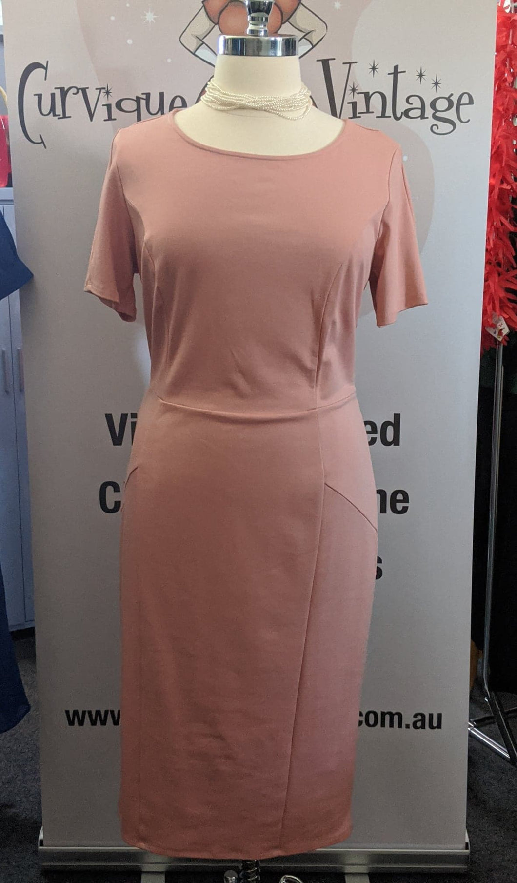 Pink Short Sleeve Mod Wiggle Dress - Size 3XL Only - Curvique Vintage