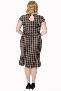 Brown Plaid Sweetheart Neckline Dress - PLUS SIZE - Curvique Vintage