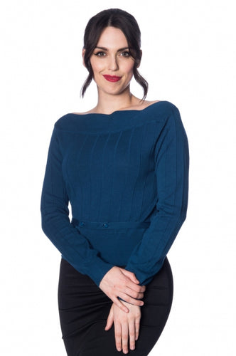 Retro Style 60s Vintage Boat Neck Knitted Blue Top - Curvique Vintage