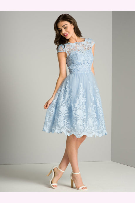 Chi Chi London Blue Cap Sleeve Tea Dress