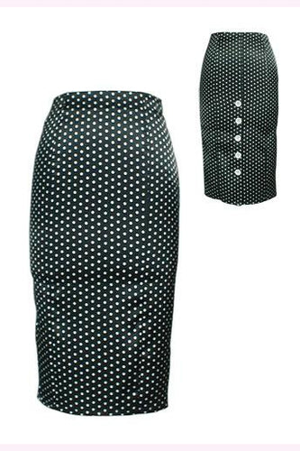 Chic Star High Waist Polka Dot Skirt - Curvique Vintage