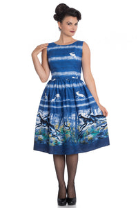 Montana Dark Blue Stags & Deer 50s Dress