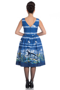 Montana Blue Sleeveless 50s Style Deer Print Dress - Curvique Vintage