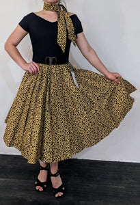 Animal Print Full Circle Skirt with Elastic Waistline - Curvique Vintage